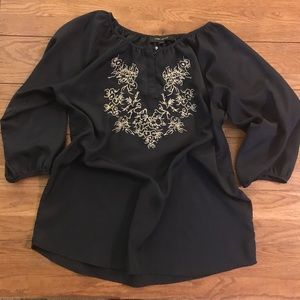 LARRY LEVINE Dark Navy Blue blouse with embroidery